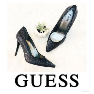 Guess | Black Glitter Pointed toe Stiletto Heels